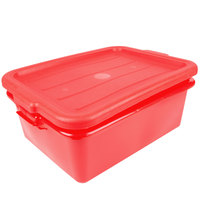 Vollrath 1505-C02 Traex® Color-Mate Red 20 inch x 15 inch x 7 inch Food Storage Drain Box Set with Recessed Lid