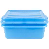 Vollrath 1535-C04 Blue 20 inch x 15 inch Polypropylene Food Storage Combo Set with Snap-On Lid