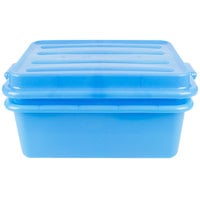 Vollrath 1535-C04 Traex Color-Mate Blue 20 inch x 15 inch x 7 inch Food Storage Drain Box Set with Snap-On Lid