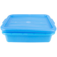 Vollrath 1501-C04 Traex Color-Mate Blue 20 inch x 15 inch x 5 inch Food Storage Drain Box Set with Recessed Lid