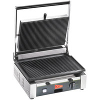 Cecilware TSG-1G Single Panini Sandwich Grill with Grooved Surfaces - 14 1/2 inch x 10 inch Cooking Surface - 120V, 1400W