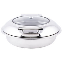 Tablecraft CW40165 4 Qt. Round Stainless Steel Induction Chafer with Glass Lid