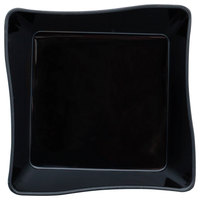 Fineline Tiny Temptations 6201-BK 2 1/4 inch x 2 1/4 inch Tiny Trays Disposable Black Plastic Tray - 10/Pack