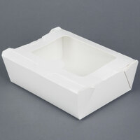 White Bio-Pak View 03BPVIEWM 8 inch x 6 inch x 2 1/2 inch Microwavable Paper #3 Take Out Container 160 / Case