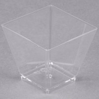 Fineline Tiny Temptations 6411-CL 2 oz. Tiny Barware Clear Plastic Cube Bowl   - 20/Pack