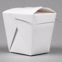 Fold-Pak 08WHWHITEM 8 oz. White Chinese / Asian Paper Take-Out Container with Wire Handle   - 1000/Case
