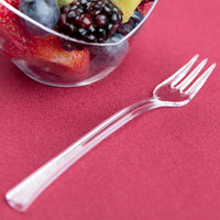 Fineline Tiny Temptations 6500-CL 3 7/8 inch Tiny Tines Clear Plastic Tasting Fork - 48/Pack