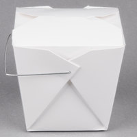 Fold-Pak 32WHWHITEM 32 oz. White Chinese / Asian Paper Take-Out Container with Wire Handle - 500/Case