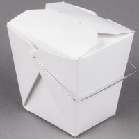 Fold-Pak 16WHWHITEM 16 oz. White Chinese / Asian Paper Take-Out Container with Wire Handle - 500 / Case