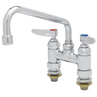 T&S B-0227-CC Deck Mounted Faucet with 8 inch Swing Nozzle, 4 inch Centers, 17.9 GPM Stream Regulator Outlet, Eterna Cartridges, and Lever Handles