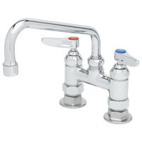 T&S B-0227-CR Deck Mount Faucet with 4 inch Adjustable Centers, 8 inch Swing Nozzle, and Cerama Cartridges
