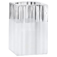 Sterno Products 80188 4 1/2 inch Ribbed Frost Glass Square Liquid Candle Holder