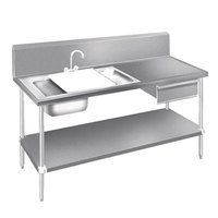 Advance Tabco DL-30-96 Stainless Steel Prep Table with Sinks, Drawer, Cutting Board and Undershelf - 96 inch