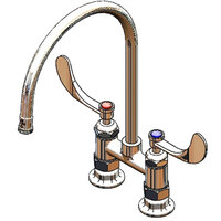 T&S B-0324-CR-129X Deck Mount Faucet with 4 inch Adjustable Centers, 10 inch Gooseneck, Cerama Cartridges, and 4 inch Wrist Action Handles