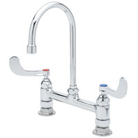 T&S B-0323-04 Deck Mount Faucet with 8 inch Adjustable Centers, 10 inch Gooseneck, and 4 inch Wrist Action Handles