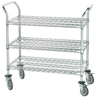 Advance Tabco WUC-2442R 24 inch x 42 inch Chrome Wire Utility Cart with Rubber Casters