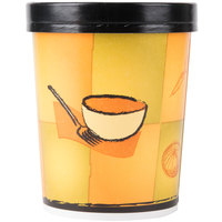Huhtamaki Chinet 71853 32 oz. Double-Wall Poly Paper Soup / Hot Food Cup with Vented Paper Lid and Streetside Design - 250/Case