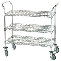 Advance Tabco WUC-1842R 18 inch x 42 inch Chrome Wire Utility Cart with Rubber