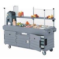 Cambro CamKiosk KVC854191 Granite Gray Customizable Vending Cart with 4 Pan Wells