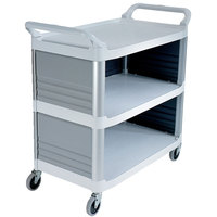Rubbermaid FG409300OWHT Xtra White 300 lb. Utility Cart with Enclosed End Panels on Three Sides