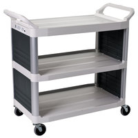 Rubbermaid FG409200OWHT Xtra White 300 lb. Bussing Cart with Enclosed Panels on Both Sides