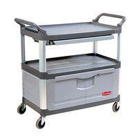 Rubbermaid FG409400GRAY Gray Xtra Instrument Cart with Lockable Doors and Sliding Drawers