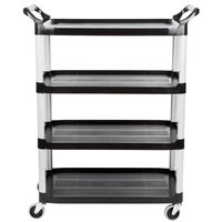 Rubbermaid FG409600BLA Xtra Black 300 lb. Four Shelf Cart with Open Sides
