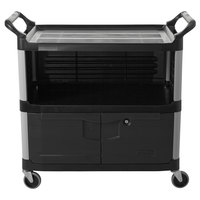 Rubbermaid FG409500BLA Xtra Black 300 lb. Equipment Cart with Lockable Doors