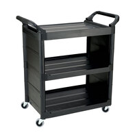 Rubbermaid FG342100 Black Bussing Cart with End Panels