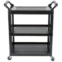 Rubbermaid FG342100BLA Black Bussing Cart with End Panels