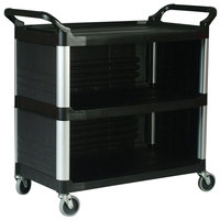 Rubbermaid FG409300BLA Black Xtra Utility Cart with Enclosed End Panels on Three Sides