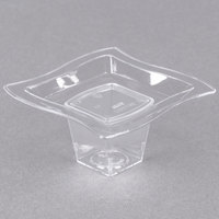 Fineline Tiny Temptations 6205-CL 2 3/4 inch x 2 3/4 inch Tiny Tiers 2-Piece Plastic Tray with 1 oz. Stem - Clear - 12/Pack