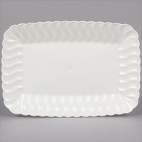 Fineline Flairware 257-BO 5 inch x 7 inch Bone / Ivory Plastic Snack Tray - 18/Pack