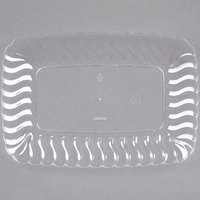 Fineline Flairware 257-CL Clear 5 inch x 7 inch Plastic Snack Tray - 18/Pack