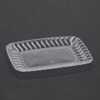 Fineline Flairware 257CL Clear 5 inch x 7 inch Plastic Snack Tray - 18 / Pack