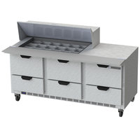Beverage-Air SPED72HC-18M-6 Elite Series 72 inch 6 Drawer Mega Top Refrigerated Sandwich Prep Table