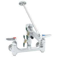 T&S B-0665-BSTR-963 Wall Mount Rough Chrome Service Sink Faucet with 8 inch Adjustable Centers, Upper Wall Support, Built In Stops, Eterna Cartridges, Quarter Turn Ball Valves, and Continuous Pressure Vacuum Breaker