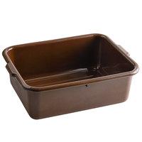 Tablecraft 1537BR Brown 21 inch x 16 inch x 7 inch Polyethylene Plastic Bus Tub