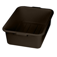 Tablecraft 1537BR Brown 21 inch x 16 inch x 7 inch Polyethylene Plastic Bus Tub, Bus Box