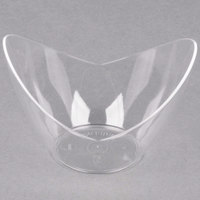 Fineline 6302-CL Tiny Temptations 3 1/2 inch x 2 5/8 inch Tiny Tureens Clear Plastic Bowl - 12/Pack