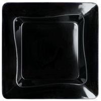 Fineline Tiny Temptations 6200-BK 3 inch x 3 inch Tiny Trays Disposable Black Plastic Tray   - 10/Pack