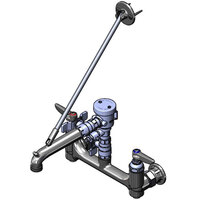 T&S B-0665-BSTP-963 Wall Mount Polished Chrome Service Sink Faucet with 8 inch Adjustable Centers, Upper Wall Support, Quarter Turn Ball Valves, and Continuous Pressure Vacuum Breaker