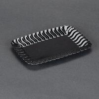 Fineline Flairware 257BK Black 5 inch x 7 inch Plastic Snack Tray 18 / Pack