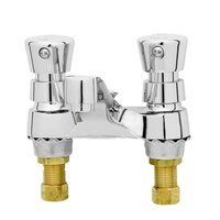 T&S B-0831-02 0.5 GPM Deck Mount Centerset Metering Faucet with 4 inch Centers and Vandal Resistant Push Button Caps