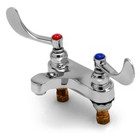 T&S B-0890-F05 0.5 GPM Deck Mount Medical Mixing Faucet with 4 inch Centers, 4 inch Wrist Action Handles, and Eterna Cartridges
