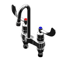 T&S B-0834-01 Deck Mount Centerset Mixing Faucet with 4 inch Centers, Rigid Gooseneck and 4 inch Wrist Action Handles
