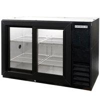 Beverage Air BB48GSY-F-1-B-LED 48 inch Back Bar Refrigerator with Black Exterior and 2 Sliding Glass Doors - 115V