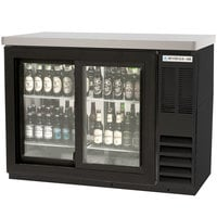 Beverage Air BB48GSYF-1-B-27-PT-LED 48 inch Food Rated Pass-Through Sliding Glass Door Back Bar Refrigerator - Black with Stainless Steel Top