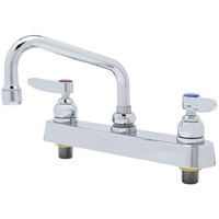 T&S B-1120-QT-WS 1.5 GPM Deck Mount Workboard Faucet with 8 inch Centers, 6 inch Swing Nozzle, Escutcheon, and Tailpieces