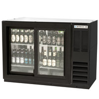 Beverage Air BB48GSYF-1-B-PT-LED 48 inch Food Rated Pass-Through Sliding Glass Door Back Bar Refrigerator - Black